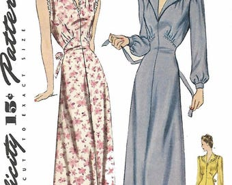 "Vintage 1940's Sewing Pattern Women's Elegant Nightgown Dress Bust 34"" WWII WW2"