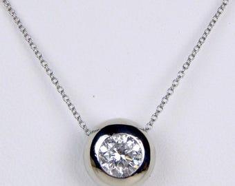 platinum .75 Ct diamond solitaire pendant necklace #10302