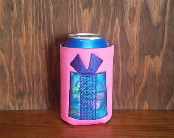 Birthday Present Can Cooler, Embroidered Can Cooler, Custom Birthday Cozie, Birthday Present Cozies, Happy Birthday Cozie, Unique Can Cooler
