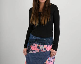 Reversible Pink Horses Corduroy Blue Denim Cotton Skirt Blue Wool Belt with detachable Pocket Long Length