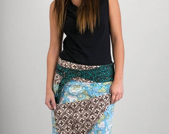 Reversible Cotton Skirt Blue Floral Grey Brown Cross Print Green Print Detachable Pocket Long Length