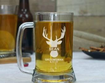 Set of 4, Groomsmen Beer Glasses, Personalized Beer Mugs, Gift for Groomsmen, Beer Glasses, Custom Beer Glass, Best Man Mug