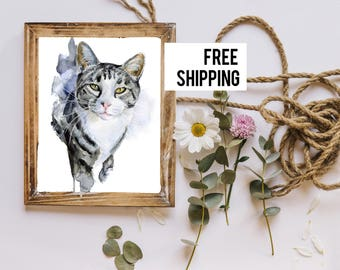 Custom Cat portrait  Mother's Day Wall Art Nursery Art Gift For Mom  Personalised A4 Cat Art Print FREE SHIPPING