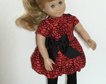 "Red satin party dress with bubble bottom fits 18"" dolls with black tights."