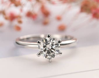 Solitaire diamond engagement ring Minimalist Simple Women Wedding Matching Promise Dainty Bridal Jewelry Anniversary gift Prong set Delicate