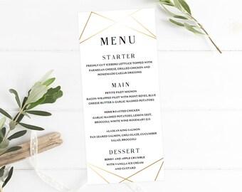 Gold Wedding Menu Cards Modern Wedding Menu Template Geometric Wedding Table Decor, Geometric Wedding Menu, Wedding Dinner Menu Card DIY GL1