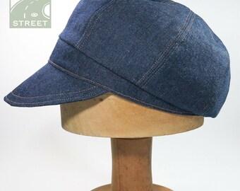 Compact blue denim newsboy cap cotton baker boy hat cotton adjustable size