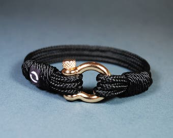 Christmas Present / Mens Jewelry / Black Bracelet / Nautical Bracelet / Brother Gift / Rope Bracelet / Mens Gift / Gift For Her / Black