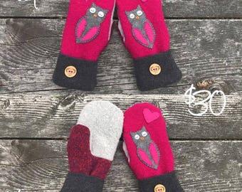 Smittens, Wool sweater mittens, Wool mittens, Repurposed, Owl, Owl mittens, Custom wool mittens, Fleece lined