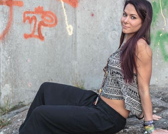 Ladies Hemp Hippie Harem Pants Black Plain Loose Yoga Aladdin Genie Drop Crotch Gypsy Baggy Pockets Festival Maternity