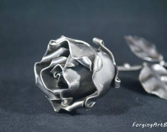 """Forged eternal Rose """"Ideal gift for Valentine's Day, Girlfriend, Mother's Day, Couple, Marriage, Birthday, Christmas, Wedding Day"""""""