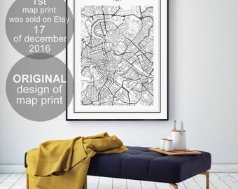 Rome Map Print, Rome City, Mappa Roma Italia, Rome Italy Map, Rome, Black and White Map, Italy Map, Italia, Roma
