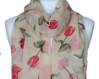 Tulip Scarf, Yellow Scarf, Tulip Print Scarf, Floral Scarf, Scarf, Spring Summer Scarves, Wrap Shawl, Autumn Scarf, Women Scarf, Accessories
