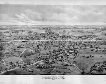 Vintage Kennebunk, Maine  Birds Eye View Map, circa 1890s,  High Quality 13 x 19 Print