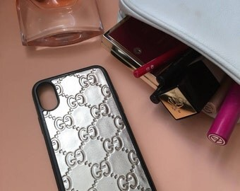 case for iphone 7/ 7+/6/6+ 8/8+ X gucci leather silver