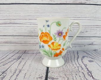 Vintage Floral Footed Mug Coffee Cup Novelty Retro Decor Break Time Tea Hot Beverages Flowers Japan