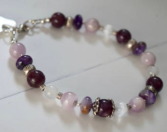 Lepidolite, Kunzite, Selenite, Charoite Bracelet~ Purple Stone Bracelet~ Emotional Balancing Energy Bracelet~ Valentine's Gifts