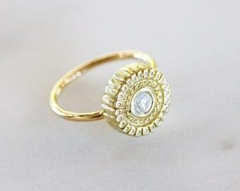 Persian Yellow Gold Diamond Sun Ring
