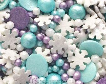 Frozen Snowflake Winter Mix Sprinkles, Edible Sugar Sprinkles, Cupcake Decorations, Cupcake Sprinkles. Silver, Violet, Turquoise & White