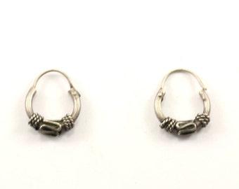 Vintage Bali Design Huggies Earrings 925 Sterling Silver ER 902
