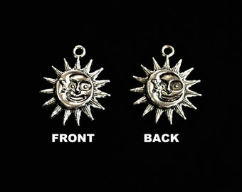 Eclipse Charm Sun Moon Charm Celestial Charm Two Sided Antique Pewter Silver Tone Solstice Sun Moon Eclipse Charm
