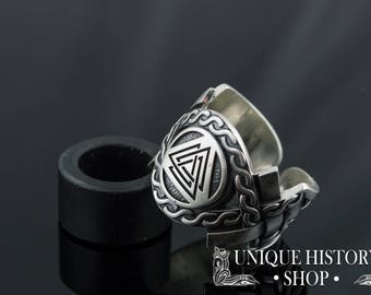 Valknut Ring with Ornament Handcrafted Viking Ring Sterling Silver Norse Jewelry