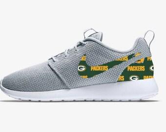 size 40 424e0 e0bca ... Nike Green Bay Packers NFL Custom Roshe Run Sneakers ...