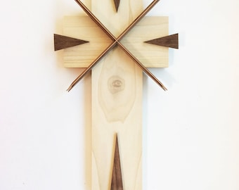 Wooden Cross using Spruce, Cherry and Walnut woods