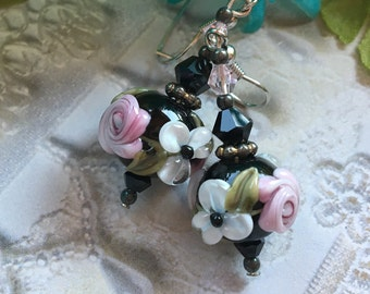 Black Lampwork Floral Earrings with Pale Pink & White Flowers, Lampwork Jewelry, SRA Lampwork Jewelry, SRA Lampwork Earrings, Gift For Her