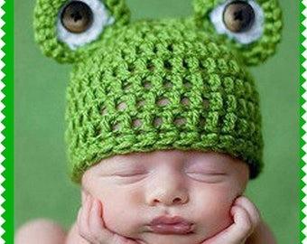 Frog, Crochet'd Baby Cap - Super Adoarble, Fits Newborn Thru One Year