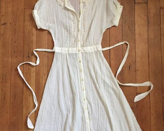 vintage 1970s sheer dress // 70s ethereal button up dress