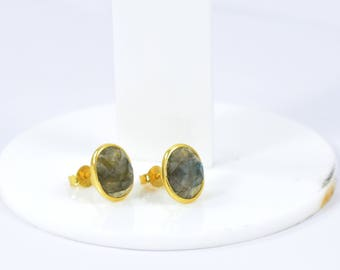 Labradorite oval studs , gold plating stud , gemstone stud, beautiful gift for her,  Labradorite jewelry , grey color stud, Christmas gift
