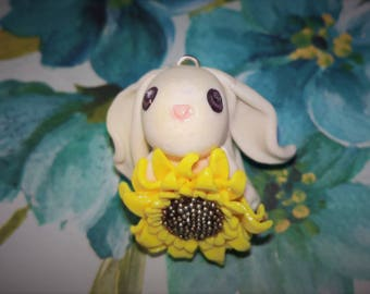 Sunflower Bunny Necklace Charm
