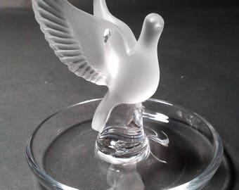 Lalique France Dove in Flight Pin Dish