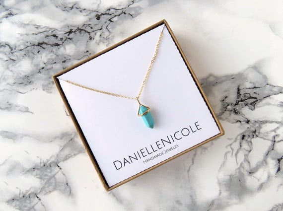 Dainty Pointed Turquoise Pendant Necklace, Turquoise Necklace, Pendant Necklace, Everyday Jewelry, Gemstone Necklace, Gifts for Her
