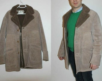 Men's Suede Shearling Coat 90s Made in England Handmade Sherpa Jacket Winter Leather Brown Faux Fur Overcoat Outerwear Jacket size Larg