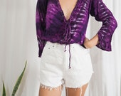 purple tie dye long sleeve lace up tie vintage top