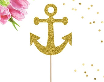 Anchor Cake Topper, Nautical Cake Topper, Baby Shower, Engagement Party, Sailing into Retirement, Nautical Party, Birthday Cake Topper