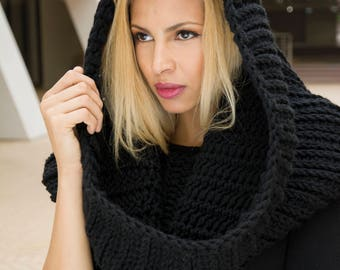 The Maura Snood Easy DIY Winter Chunky Crochet Ladies Oversized Hooded Cowl Pattern PDF