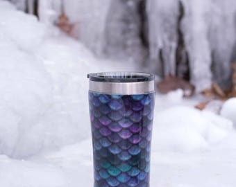 mermaid scale tumbler - fabric tumbler - stainless steel tumbler - 20 ounce - gifts for her