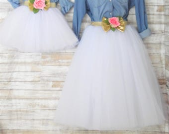 """Mother daughter Matching  Set""""White""""  Knee length tulle skirt, mommy and me tulle skirt , tutu skirts, wedding skirts, plus size"""