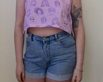 Handmade and illustrated fabric top- babes and cuties- S/M