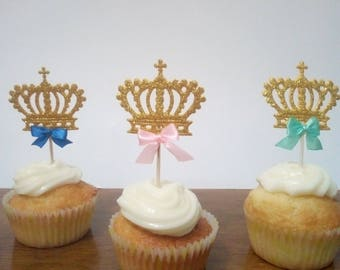 12Cupcake toppers princess or prince/Princess decorations/Prince decorations/Princess themed party/toppers for cupcake/glitter party/baby