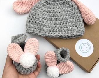 Baby girl gift set, crochet baby gift, crochet baby bunny shoes, baby shower gift, new baby bunny hat, easter baby gift, bunny photo prop