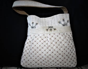 hand quilted and hand embroidered hand bag