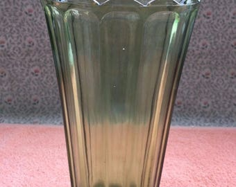 "Vintage Avocado Green Glass Vase 8.5"" Tall - Good Condition"