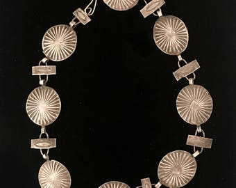 Vintage Navajo-made sterling silver hand-stamped choker necklace, 1930s