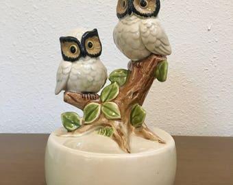 Vintage Music Box / Rotating Owl Music Box / Decorative Hand Painted Owl Music Box