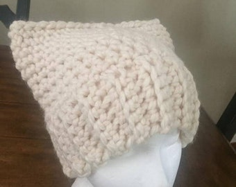 crochet Cat Hat - cream