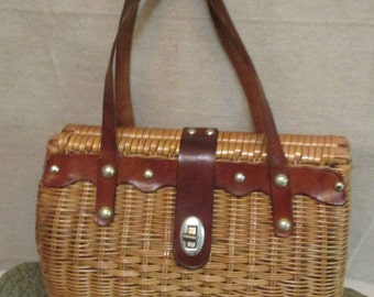 Vintage 1960's Simon Styled by Ernest Blum Plastic Coated Rattan Basket Purse With Leather Trim Handles